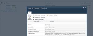 Evento diario creado en una lista MOSS 2010 con UTC -5